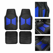 Black Blue 2 Tone Floor Mats For Auto Car SUV Van All Weather Universal Fit