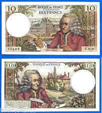 France 10 Francs 1973 5 April Voltaire Serie U 879 Frcs Frcs Free Ship World