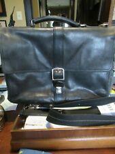 "Coach  Black Leather  Large Laptop Briefcase 16"" x 11"" x 5"" NEEDS REPAIR"