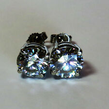 GENUINE MOISSANITE DIAMOND STUDS EARRINGS 9 CARAT SOLID WHITE GOLD 6.5mm vvs1