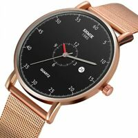 Luxury Men Trendy Short Hour Minimalist Watch Slim Mesh Stainless Steel Strap