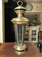 Vintage Tall Brass Hanging Lantern Etched Glass Candleholder