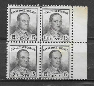 CANAL ZONE , US , 1928/40 , JACKSON SMITH ,15c  BLOCK OF 4 STAMPS , PERF , MNG