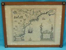 ANTIQUE JANSSON  MAP 1630 NOVA ANGLIA NOVUM BELGIUM et VIRGINIA