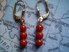 Korallen Kugel Ohrhänger Gold 333, Ohrhänger Gold 333 mit roter Koralle 5 mm