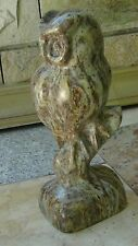 ALASKAN STONE LARGE CARVED A HORNED OWL PERCHED ON BRANCH W/FOLDED WINGS,SIGNED
