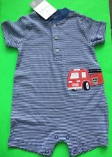 Baby Boy 1-Pc Romper With Fire Truck 6 Month & 9 Month Available Nwt!