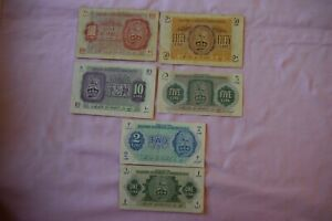 6 x BRITISH MILITARY AUTHORITY in TRIPOLITANIA Banknotes, Paper Money NICE GROUP
