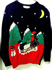 Vintage Ugly Christmas Sweater Skaters Snowman Women M Haberdashery sequins 1993