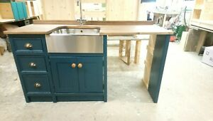 Bespoke Pine Freestanding unit with stainless steel butler Sink.