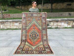 HANDMADE WOOL RUG ANATOLIAN TURKISH OUSHAK RUG,TRIBAL MEDALLION DESIGN RUG
