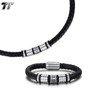 TT 8mm Leather Steel Greek Patten Magnet Buckle Collar Necklace+Bracelet 2020NEW