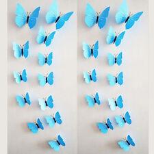 12Pcs 3D Butterfly Design Art Decal Wall Sticker Home Room Decor pure Blue Gifts