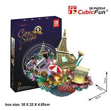 CubicFun 3D Puzzle OC3214L LED City Scape Paris,Landscape Jigsaws,78 Pieces