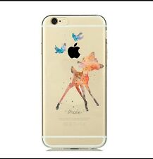 Disney Watercolour Bambi Clear Silicone Gel Case For iPhone 5/5s Or SE. . Xmas