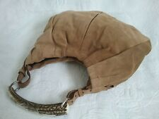 Yves Saint Laurent Mombasa Silber Horn Braun Wildleder Leder Tasche Bag