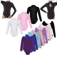 Girl Gymnastics Ballet Dance Wear Leotard Mock Neck Long Sleeve Bodysuit Costume