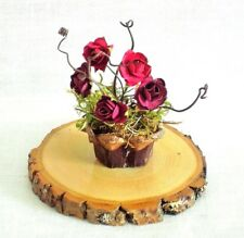 Fairy Garden Miniature DollHouse DARK RED ROSES /Pinecone Flower POT & STUMP
