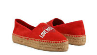 LOVE MOSCHINO Women's Espadrille Slip-On Shoes with Platform Red Leather