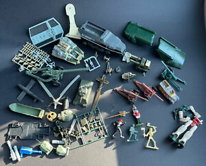 VINTAGE LOT OF OLD AIRFIX REVELL & OTHERS MODEL KITS GUNS FIGURES TANKS SPARES