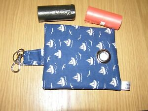 HANDMADE FABRIC DOG POO POOP BAG HOLDER DISPENSER PAPER SAIL BOATS FABRIC