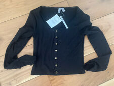 Asos New With Tags Long Sleeved Top Size 8 Black Scoop Neck Ribbed Button Front