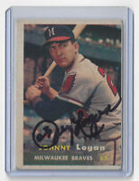 1957 BRAVES Johnny Logan signed card Topps #4 AUTO Autographed Milwaukee (D)
