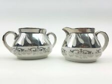 Art Deco Hlwd Regency SterliNg Overlay 2Pc. Gibsons Creamer & Sugar Bowl Vtg