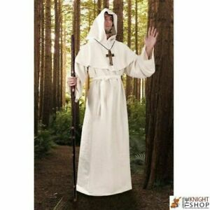 White Color Medieval Reenactment Hood & Tunic Historical Costume Best Style