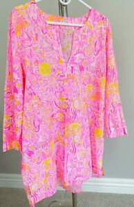 Lilly Pulitzer hot pink Swim cover up cotton XL