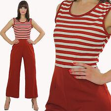 Vintage 70s Boho hippie Striped Nautical Sailor jumpsuit romper sleeveless M