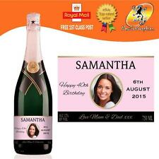 Personalizzata Rosa Champagne Foto etichetta della bottiglia compleanno nozze qualsiasi occasione