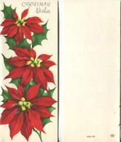VINTAGE CHRISTMAS VIVID RED POINSETTIA FLOWERS LEAVES GREETINGS GREETING CARD