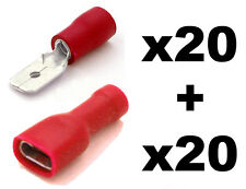 40x Red Fully Insulated Spade Electrical Crimp Connectors- Mixed Male & Female