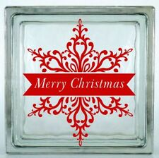 Merry Christmas Snowflake Decal ~ Choose Decal Colors and Size