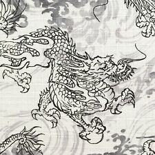 Dragon fabric, Japanese black white grey material, Chinese Oriental mythical