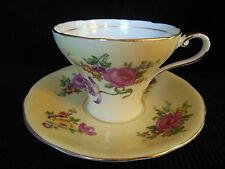 AYNSLEY BONE CHINA TEA CUP & SAUCER SET PALE YELLOW & PINK ROSES ENGLAND