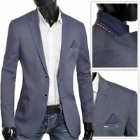 Men's Classic Design Blazer Jacket Blue Casual Contrast Finish Slim Soft Cotton