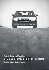 Ford Granada Prospekt Technik Maße Gewichte 11/82 brochure 1982 Auto PKWs Europa