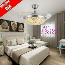 42� 3Speeds 3Colors Crystal Ceiling Fan Light Retractable Blades Remote Control
