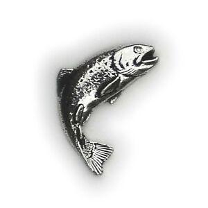 English Pewter, TROUT Fish, Fishing, Lapel Pin Badge / Hat / Tie Pin Badge (F01)