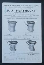 Catalogue appareil sanitaire FARTHOUAT WC porcelaine cuivre toilette chiotte