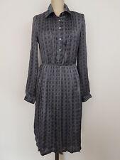 Vintage 80s Karen Walker Womens Dress Sz 8 Black White Shirtmaker Long Sleeves