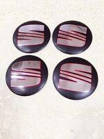 4X Seat 56mm Emblem Wheel Center Cap Sticker Logo Badge Wheel Trims Black New