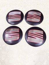 4X Seat 56mm Emblem Wheel Center Cap Sticker Logo Badge Wheel Trims Black New