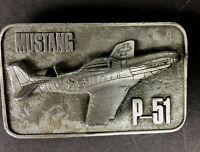 Belt Buckle Mustang Airplane P-51 Air Force Nickel color