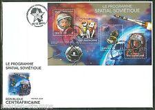 Central Africa 2014 Soviet Space Program Belka & Strika Gagarin Sheet Fdc