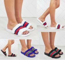 Womens Ladies Flat Striped  Summer Fur Sliders Sandals Slippers Mules Shoes Size