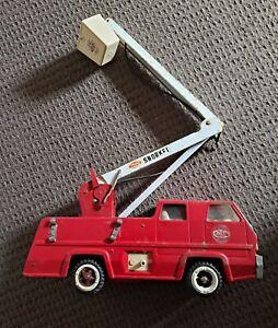 Vintage Large Tonka Red Fire Snorkel Truck  Pressed Steel 1960s 70s Metal