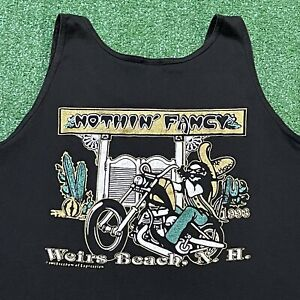 Weirs Beach Motorcycles Tank Top Mens XL Black Shirt Vintage 90s New Hampshire